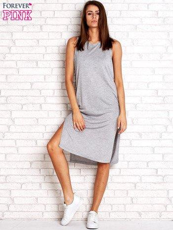 Szara sukienka z plecionymi wstawkami z boku                                  zdj.                                  6