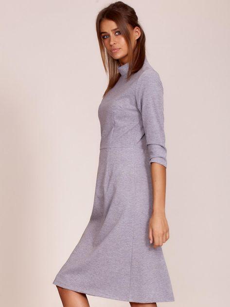 Szara sukienka z półgolfem                              zdj.                              3