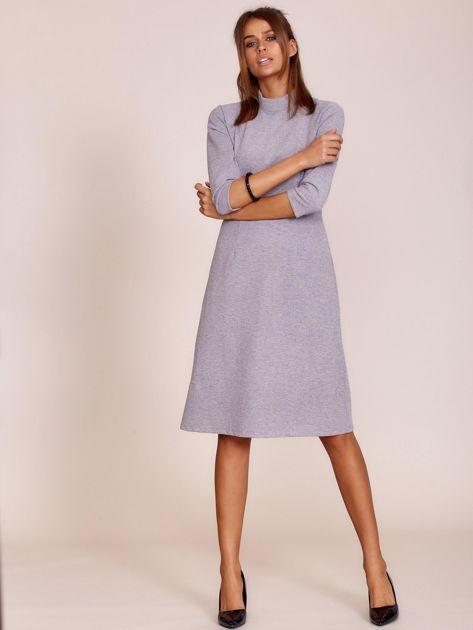 Szara sukienka z półgolfem                              zdj.                              4