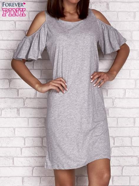 Szara sukienka z rękawami cut out                                  zdj.                                  1