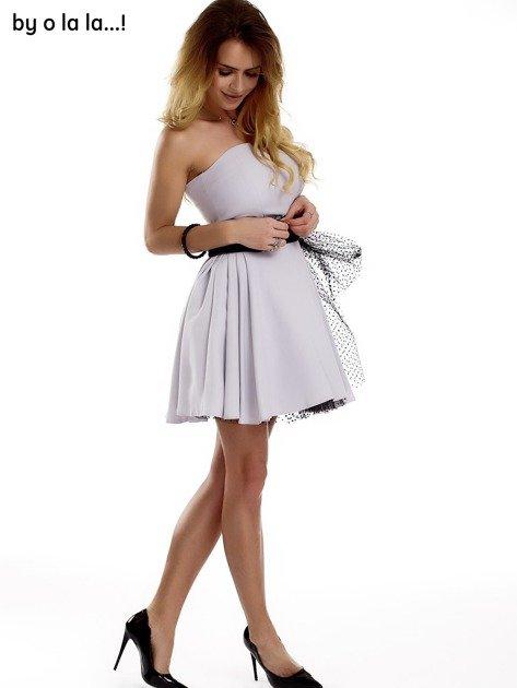 Szara sukienka z tiulowym wiązaniem BY O LA LA                              zdj.                              1