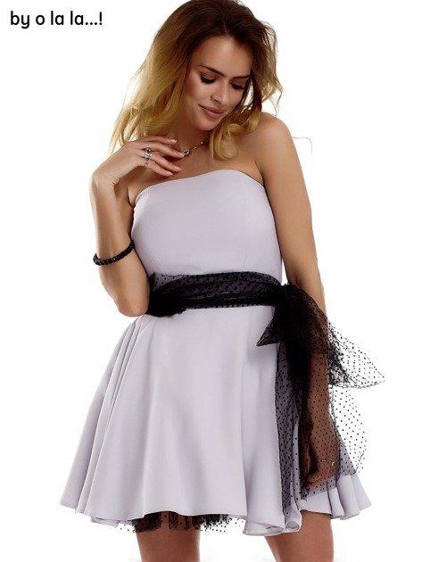 Szara sukienka z tiulowym wiązaniem BY O LA LA                              zdj.                              2