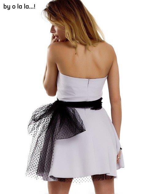 Szara sukienka z tiulowym wiązaniem BY O LA LA                              zdj.                              6