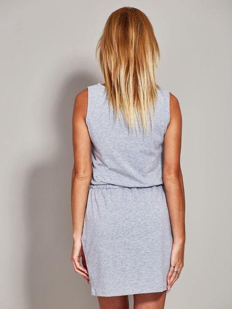 Szara sukienka z troczkami                              zdj.                              2