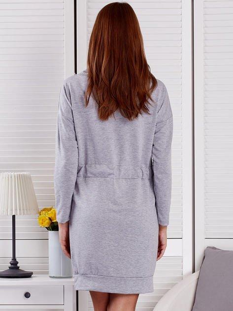 Szara sukienka z wstążkami                               zdj.                              2