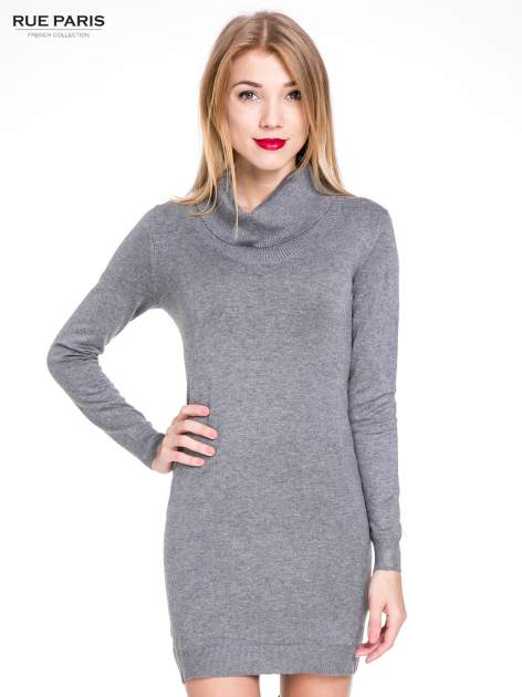 Szara swetrowa sukienka z golfem                                  zdj.                                  2