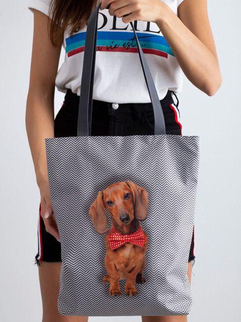 Szara torba materiałowa z nadrukiem psa                              zdj.                              3
