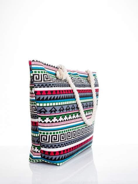 Szara torba plażowa w azteckie wzory                                  zdj.                                  3