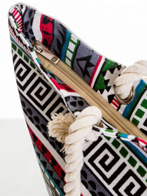Szara torba plażowa w azteckie wzory                                  zdj.                                  6