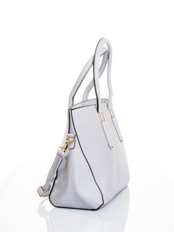 Szara torba shopper efekt saffiano                                  zdj.                                  3