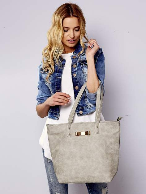 Szara torebka shopper bag z kokardką
