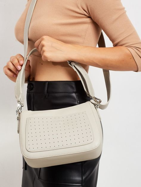 Szara torebka z ażurową kieszenią