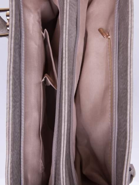 Szara torebka ze złotymi okuciami z kryształkami                                  zdj.                                  5