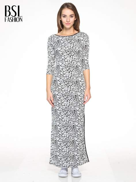 Szara wzorzysta sukienka maxi z rękawem 3/4                                  zdj.                                  1