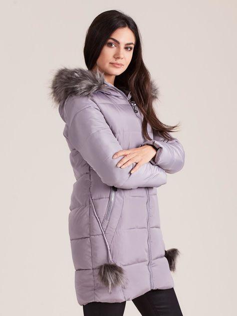 Szara zimowa kurtka damska z futerkiem                              zdj.                              3