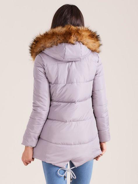 Szara zimowa kurtka z futerkiem                              zdj.                              2