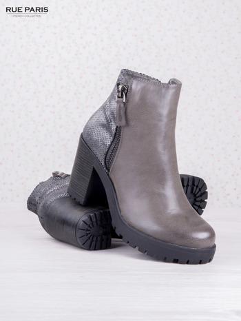 Szare botki faux leather z ciemną wstawką ze skóry węża zapinane na suwak                                  zdj.                                  3