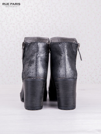 Szare botki faux leather z ciemną wstawką ze skóry węża zapinane na suwak                                  zdj.                                  4