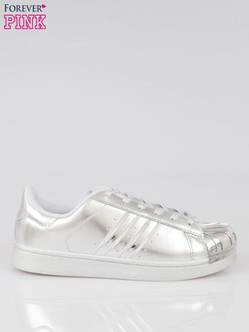 Szare buty sportowe material Enigmatic z metalicznym czubkiem