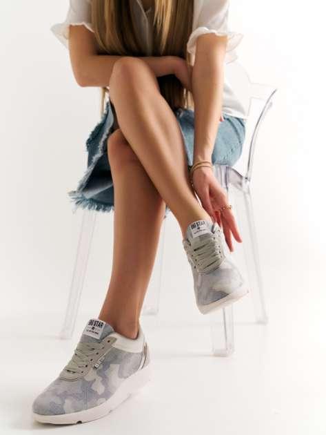Szare buty sportowe moro Big Star z lustrzaną wstawką nad piętą