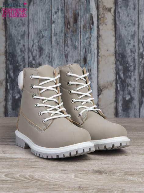 Szare buty trekkingowe damskie traperki ocieplane                                  zdj.                                  3