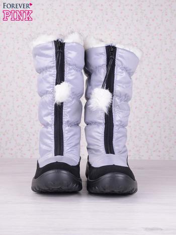 Szare ciepłe pikowane śniegowce z membraną na suwak                                  zdj.                                  4