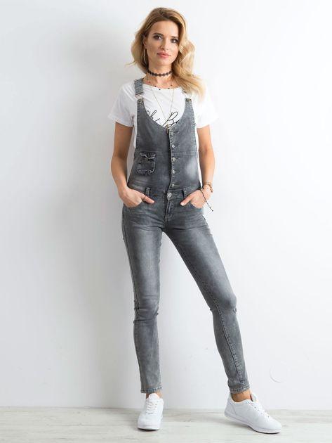 Szare jeansowe ogrodniczki                              zdj.                              4