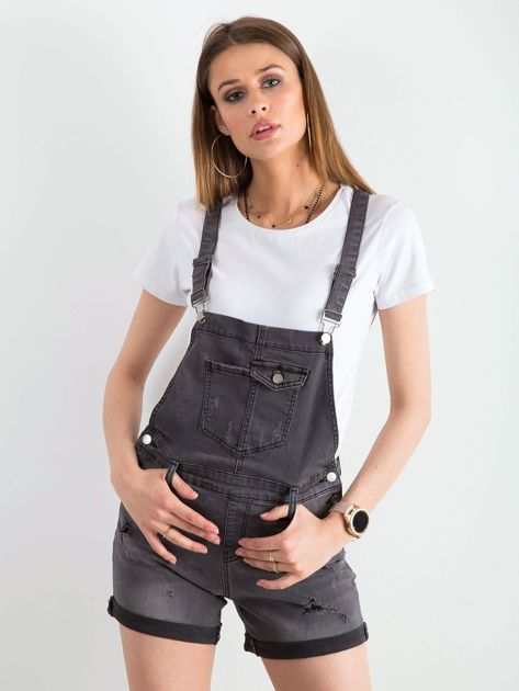 Szare jeansowe ogrodniczki                              zdj.                              5