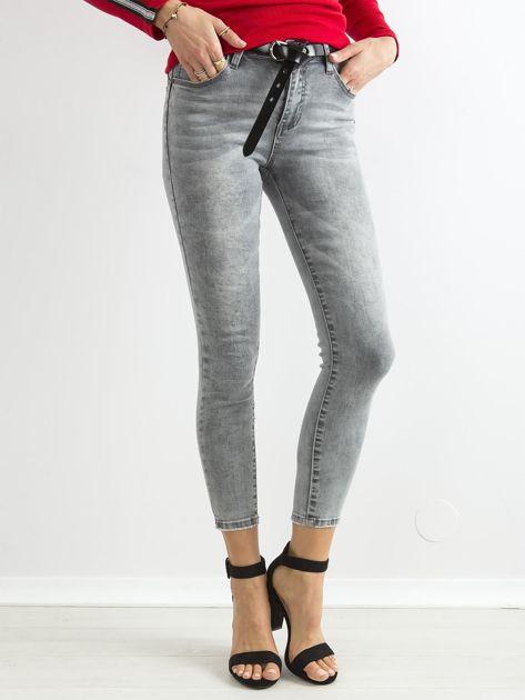 Szare jeansowe rurki skinny z wysokim stanem                              zdj.                              1