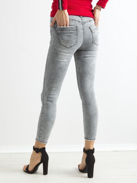 Szare jeansowe rurki skinny z wysokim stanem                              zdj.                              2