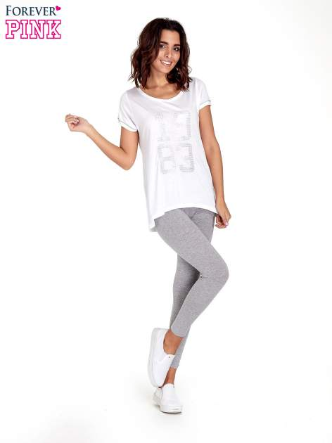 Szare melanżowe legginsy damskie basic                                  zdj.                                  8