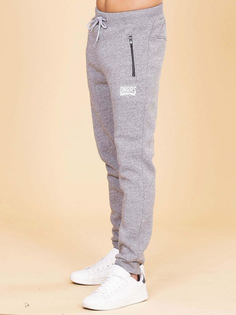 Szare ocieplane spodnie dresowe męskie                              zdj.                              5