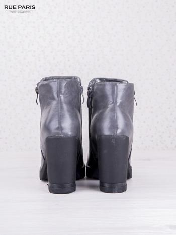 Szare skórzane botki faux leather Dakota na słupku zapinane na suwak                                  zdj.                                  4