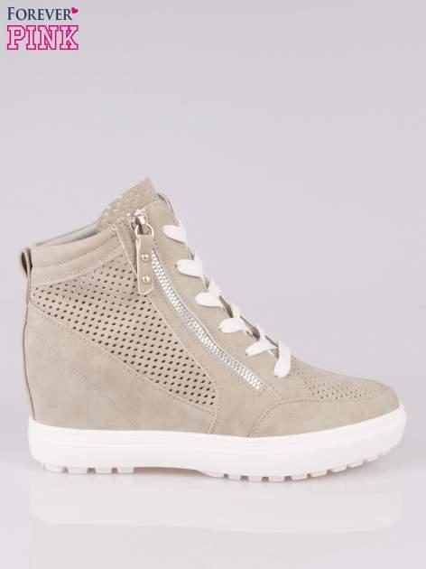Szare sneakersy damskie z siateczką