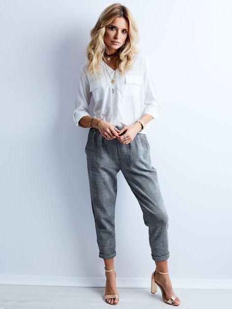 Szare spodnie 7/8 w kratę                              zdj.                              1