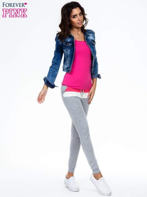 Szare spodnie dresowe z kolorową wstawką                                  zdj.                                  2