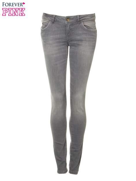 Szare spodnie jeansowe rurki z lekkim cieniowaniem                                  zdj.                                  5