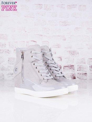 Szare zamszowe sneakersy Stella z lakierowanymi wstawkami i suwakiem z boku