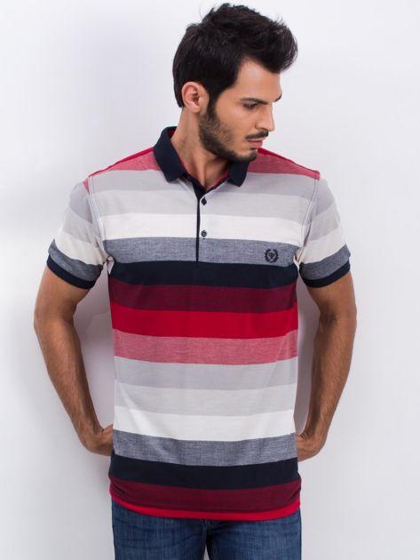 Szaro-bordowa koszulka męska polo Together