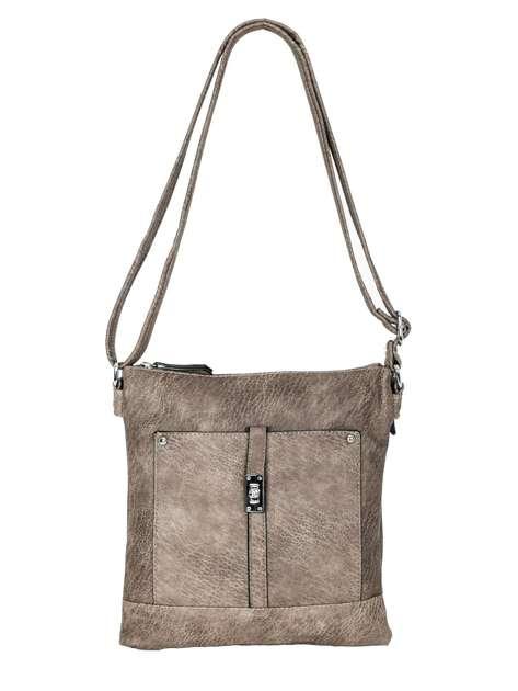 Szaro-brązowa torebka damska ze skóry ekologicznej