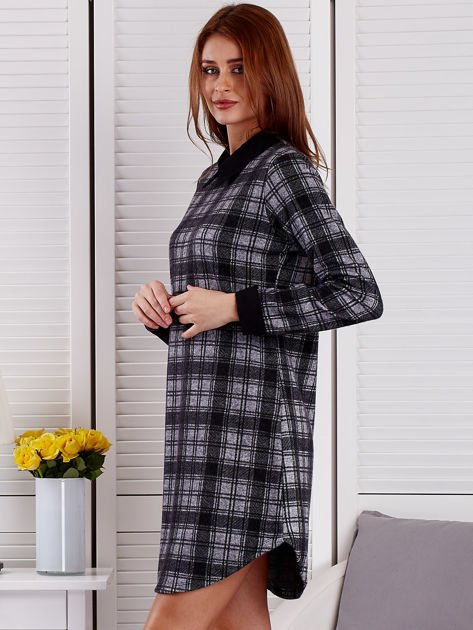 Szaro-czarna sukienka w kratę                              zdj.                              3