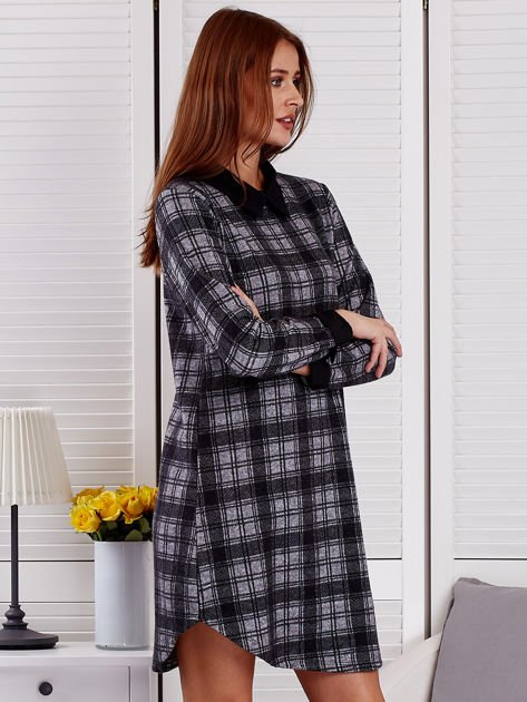 Szaro-czarna sukienka w kratę                              zdj.                              5