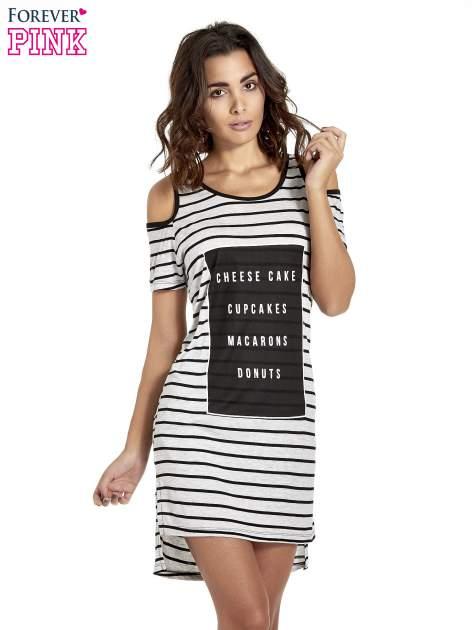 Szaro-czarna sukienka w paski cut out shoulder                                  zdj.                                  1