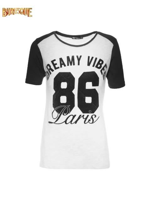 Szaro-czarny t-shirt z napisem DREAMY VIBES 86 PARIS                                  zdj.                                  7