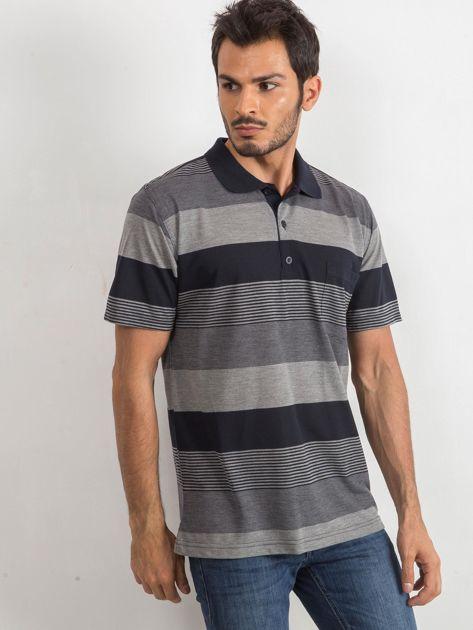 Szaro-granatowa męska koszulka polo Sartorial