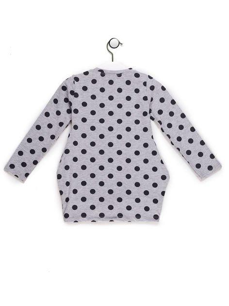 Szaro-granatowa tunika dla dziewczynki w groszki