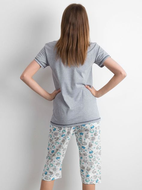 Szaro-niebieska piżama w owce                              zdj.                              3