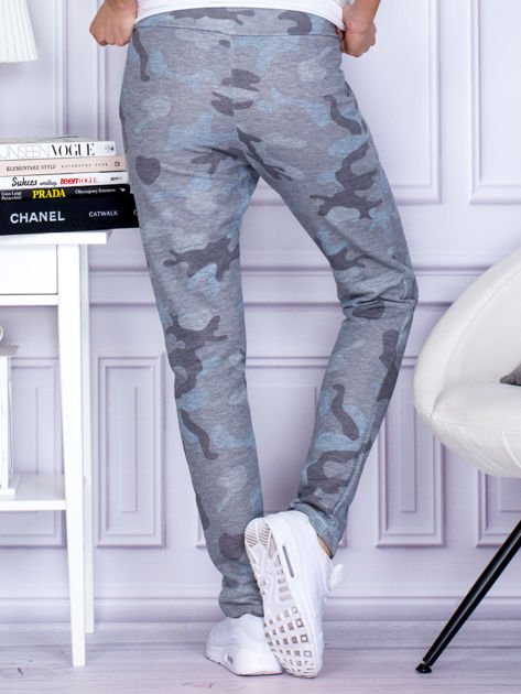 Szaro-niebieskie spodnie dresowe we wzór moro                                   zdj.                                  2