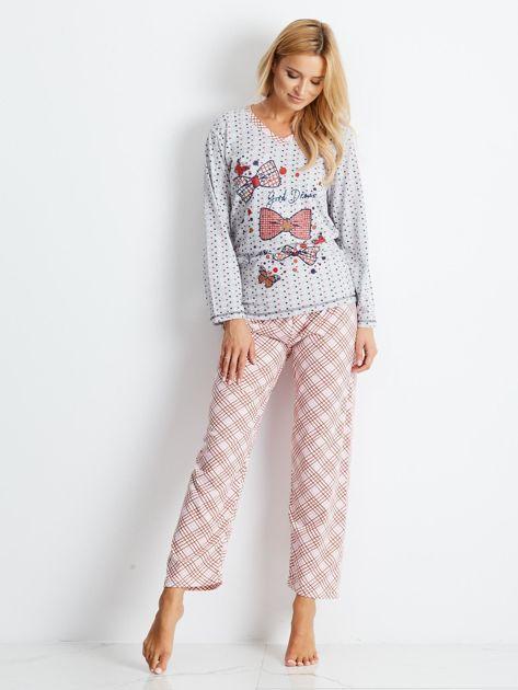 Szaro-różowa piżama Bows                              zdj.                              1