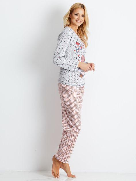 Szaro-różowa piżama Bows                              zdj.                              3